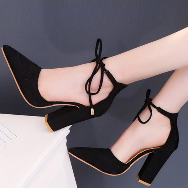 Women's Pointed Toe Flock High Heels w/ Ankle Strap - Erbana 88