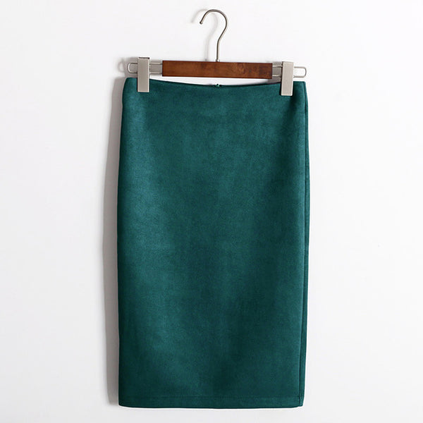 Women's Sophisticated Solid Suede Mini Bodycon Pencil Style Skirt