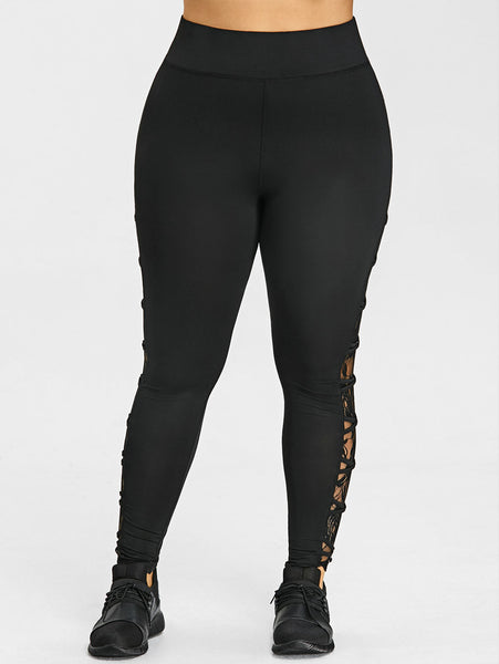 Women's High Waist Elastic leggings w/ Lace Floral Side Design