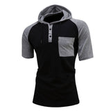 Men's Broadcloth Patchwork Short Sleeve Raglan Hoodie w/ Pocket - Erbana 88