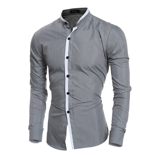 Men's Elegant Long Sleeve Slim Fit Shirt w/ Mandarin Collar - Erbana 88