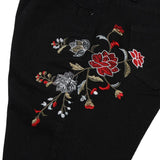 Women's High Waist Pencil Jeans w/ Floral Embroidery - Erbana 88