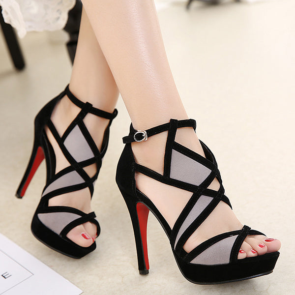 205b4cacd Women s Intricate Hollow Out Fish Mouth Heels w  Wild Cross Strap ...