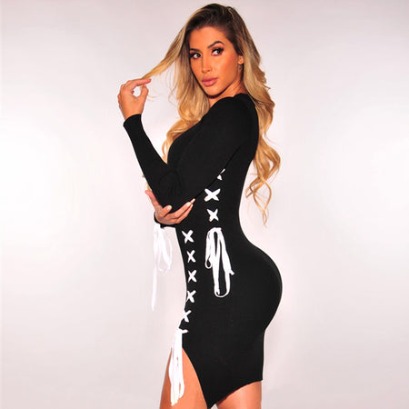Women's Deep V-Neck Long Sleeve Laced Floral Mini Dress w/ Bowed Belt