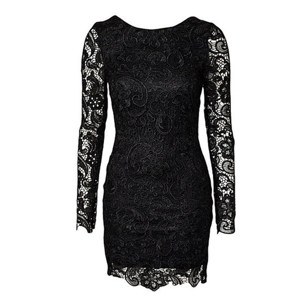 Women's Bodycon Long Sleeve Halter Bandage Dress w/ Lace Patchwork - Erbana 88