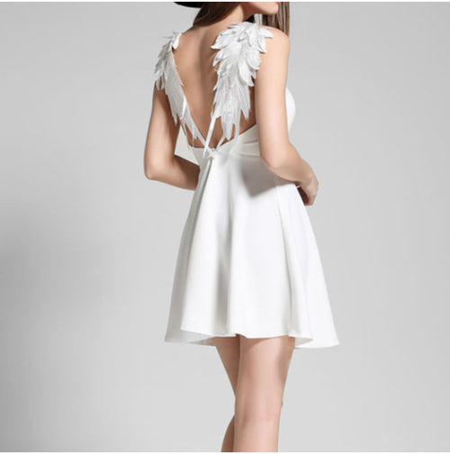 Women's Vintage Mini Backless Dress w/ Fallen Angelic Wings Design