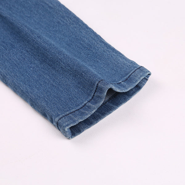 Women's Classic Mid Waist Blue Denim Elastic Pencil Jeans w/ Large Back Zipper
