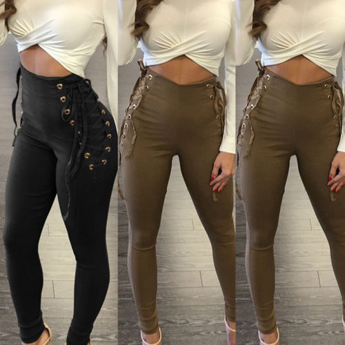 Women's High Waist Bandage Style Leggings w/ Lace-Up Side Design