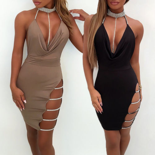 Women's Deep V-Neck Halter Bandage Pencil Dress w/ Jewelry Design Spaghetti Straps