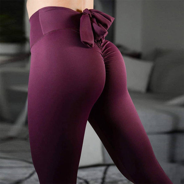 Women's High Waist Vintage Push-Up Leggings w/ Ruffle & Bow Design