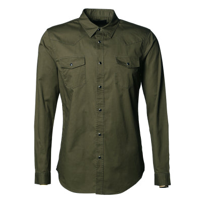 Men's Elegant Long Sleeve Slim Fit Shirt w/ Dual Pockets & Crystal Button Finish - Erbana 88