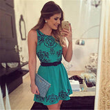 Women's Casual Teal & Black Bohemian Style Mini Dress w/ Tribal Print - Erbana 88