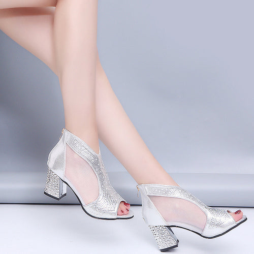 Women's PU Leather High Heels w/ Crystal Gem & Mesh Design - Erbana 88