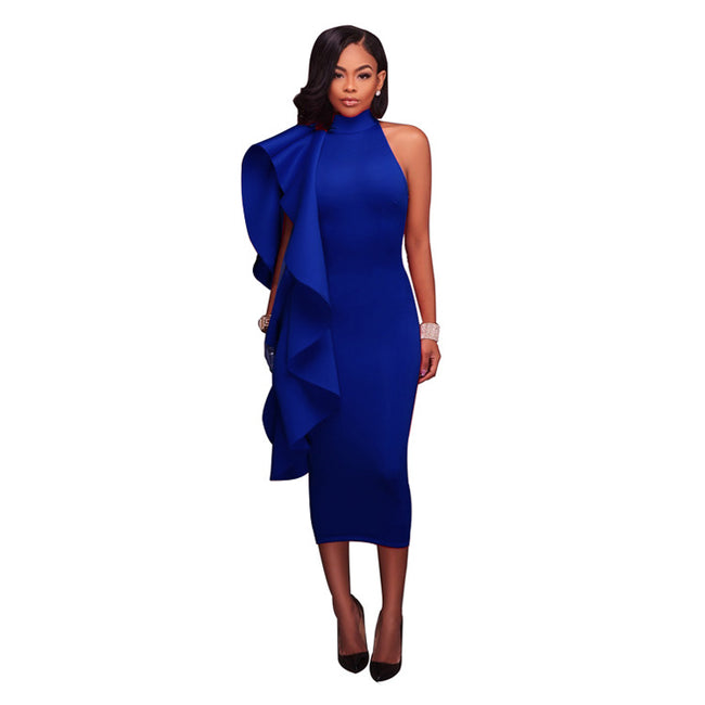 Women's Elegant Turtleneck Neckline Bodycon Dress w/ One Shoulder Ruffled Design