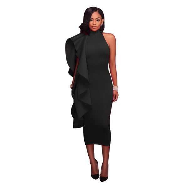 Women's Elegant Turtleneck Neckline Bodycon Dress w/ One Shoulder Ruffled Design - Erbana 88