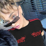 Women's Short Sleeve 'Black & Red Chinese Dragon' Harajuku Tee