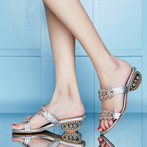 Women's Dual Strap Crystal Leaf Adornment Slip On Sandals w/ Link Style Heel - Erbana 88