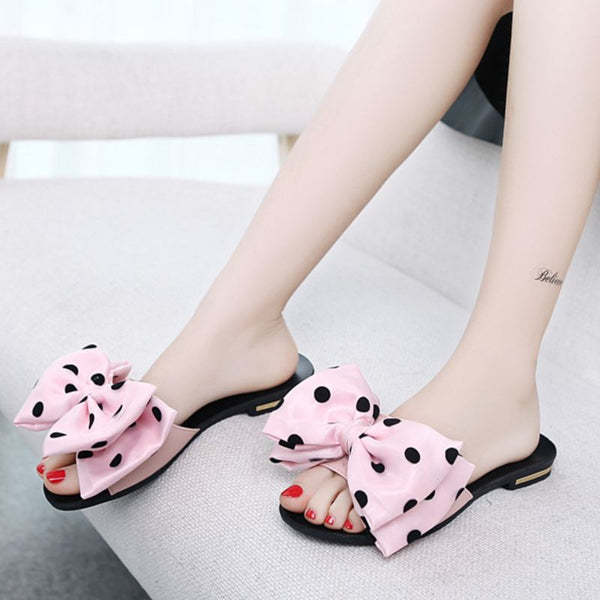 Women's Open Toe Sandals w/ Polka Dot Bow Tie Finish