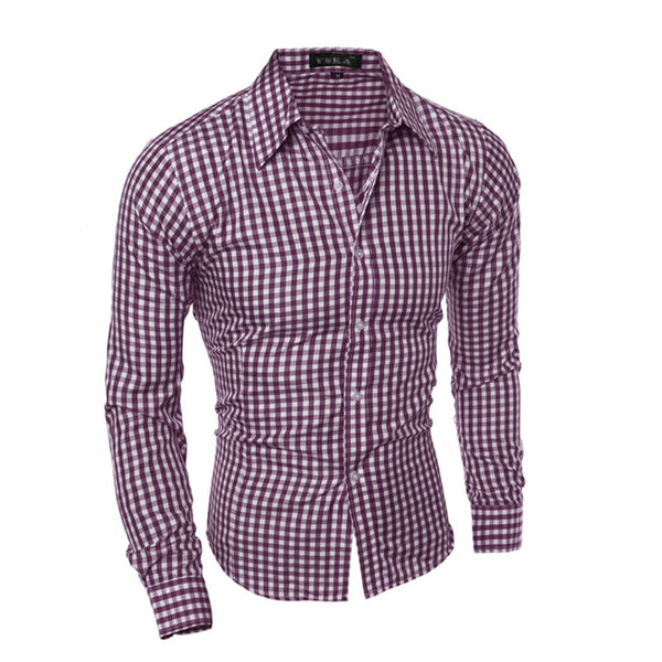 Men's Assorted Urban Style Long Sleeve Plaid Shirt - Erbana 88
