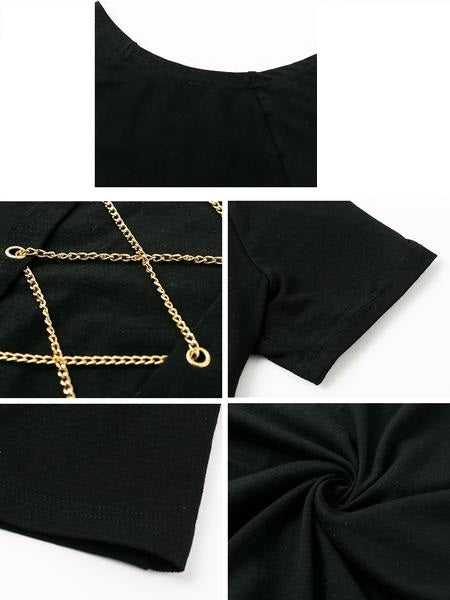 Women's Urban Style Hollow Out Cropped Top w/ Metal Chain
