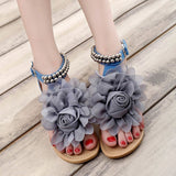 Women's Chic Sandals w/ Floral & Beaded Design - Erbana 88