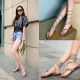 Women's Chic Snake Wrap Sandals w/ Diamond and Sequin Design - Erbana 88