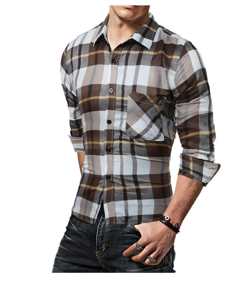 Men's Urban Style Wild Slim Long Sleeve Plaid Shirt - Erbana 88