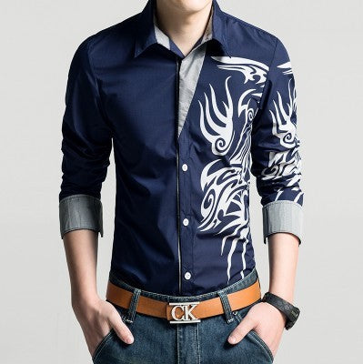Men's Casual Long Sleeve Microfiber Shirt w/ Designer Tribal Dragon Print - Erbana 88