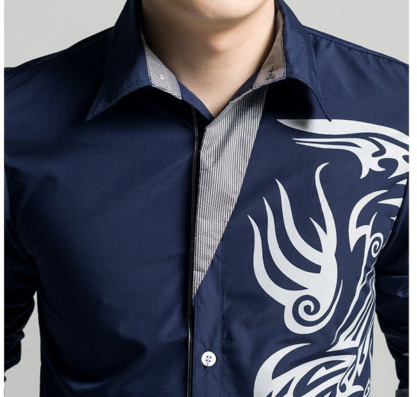 Men's Casual Long Sleeve Microfiber Shirt w/ Designer Tribal Dragon Print