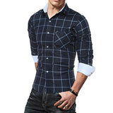 Men's Belgian Style Long Sleeve Casual Plaid Shirt - Erbana 88