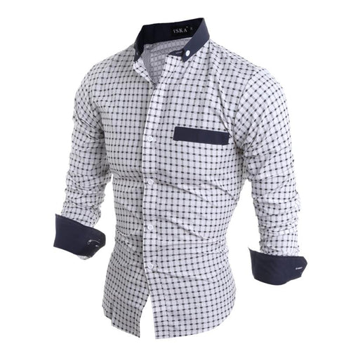 Men's Urban Style Long Sleeve Classic Plaid Shirt w/ Solid Lining Finish - Erbana 88
