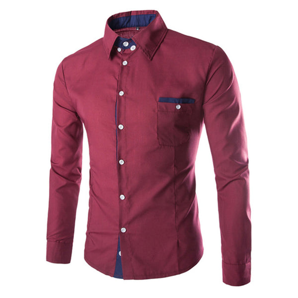 Men's European Style Slim Fit Business Casual Long Sleeve Shirt - Erbana 88