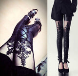 Women's Gothic Style Leather Leggings w/ Elegant Lace Patchwork