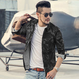 Men's Vintage Style Military Cut Long Sleeve Camouflage Shirt - Erbana 88