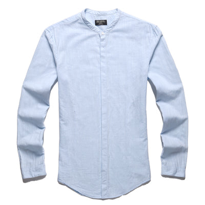 Men's Ultra Breathable Long Sleeve Casual Shirt w/ Mandarin Collar - Erbana 88