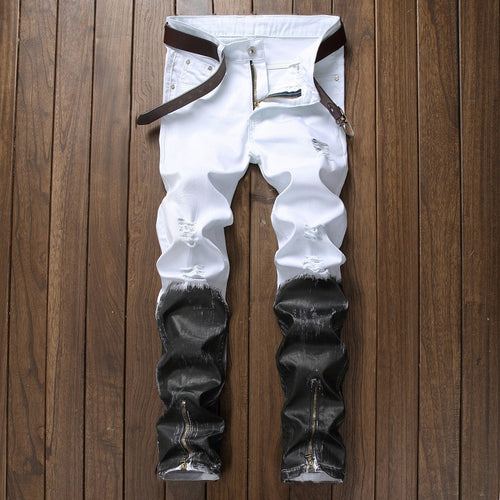 Men's Eclectic Black and White Straight Fit Ripped Designer Jeans - Erbana 88