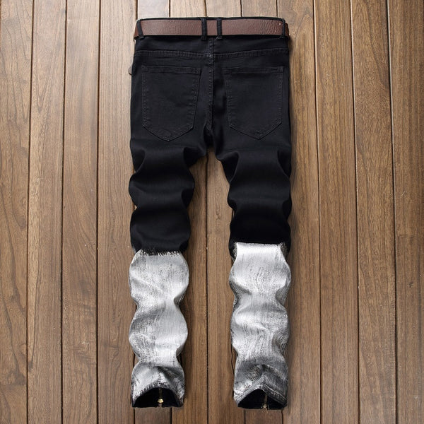 Men's Eclectic Black and White Straight Fit Ripped Jeans