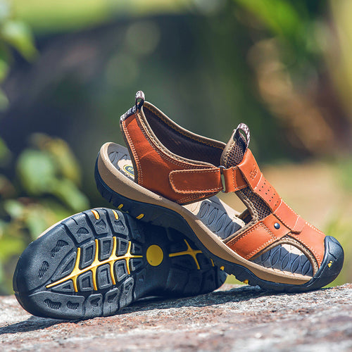 Men's High Quality PU Leather Outdoor Hook & Loop Sandals - Erbana 88