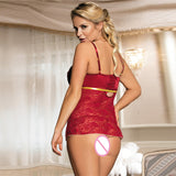 Women's Fiery Red Erotic Lace Lingerie w/ G-String - Erbana 88