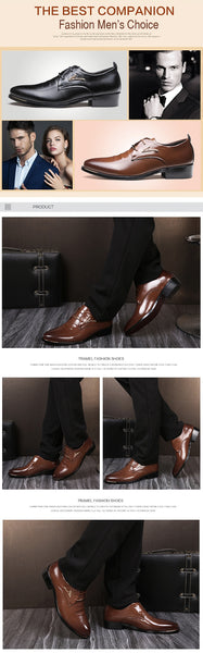 Men's Cropped Leather Pointed Toe Formal Shoes w/ 'A' Design - Erbana 88