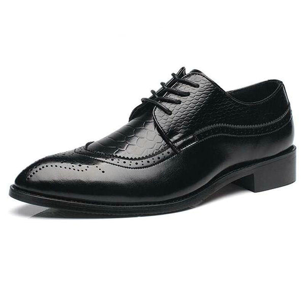 Men's British Style PU Leather Pointed Toe Bullock Oxford Shoes - Erbana 88