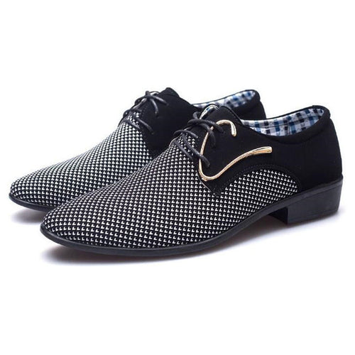 Men's Formal Business Style Wedged Shoes w/ Patchwork Finish - Erbana 88