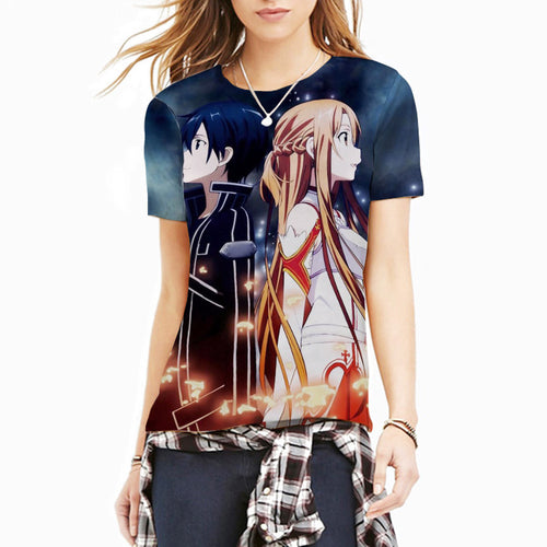 Women's Short Sleeve 3D Full Print 'Kirito and Asuna' Sword Art Online Tee - Erbana 88