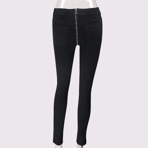 Women's High Waist Back Zipper Pencil Jeans - Erbana 88