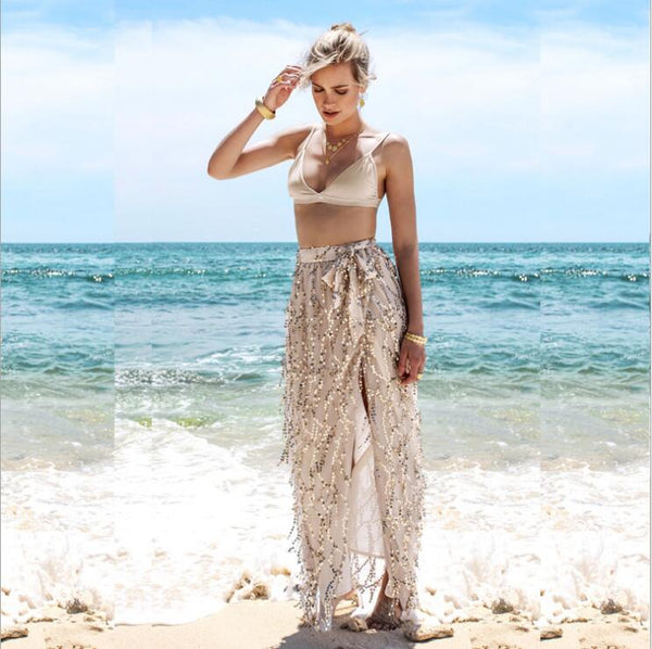 Women's High Split Gold Sequin Bohemian Style Wrap Skirt