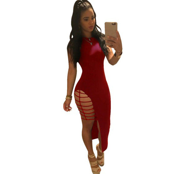 Women's European Cut Out Lace-Up Solid O-Neck Asymmetric Mini Dress