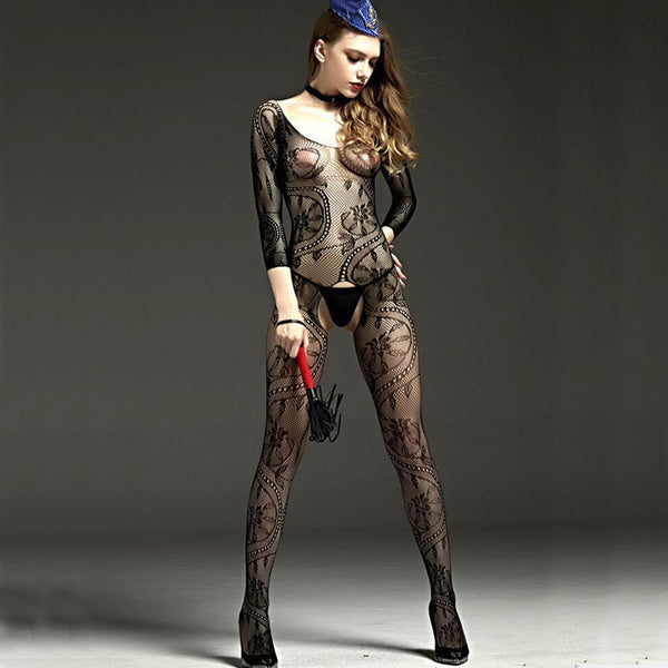 Women's Open Crotch Hollow Print Full Body Lingerie - Erbana 88