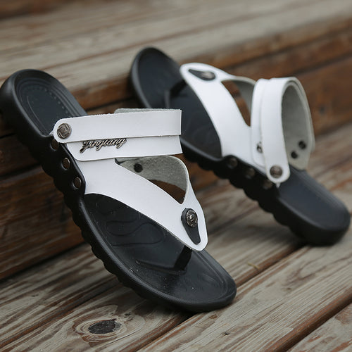 Men's Summer Style Cross Tied Full Grain Leather Beach Sandals - Erbana 88
