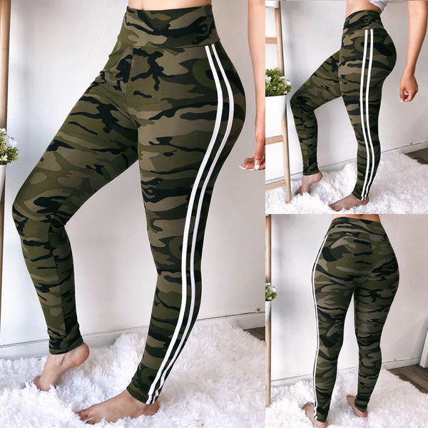 Women's High Waist Ankle-Length Camouflage Yoga Pants - Erbana 88