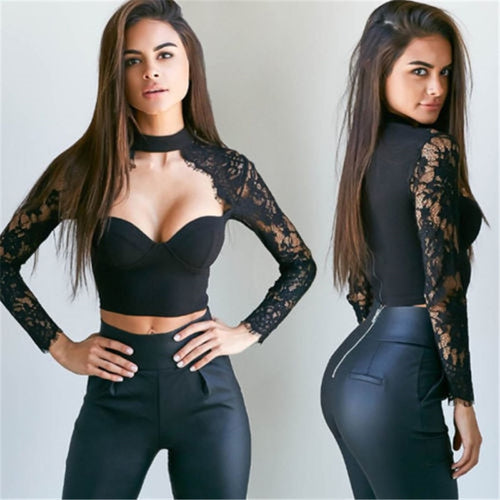 Women's Urban Style Laced Long Sleeve Bustier Bralette Top - Erbana 88